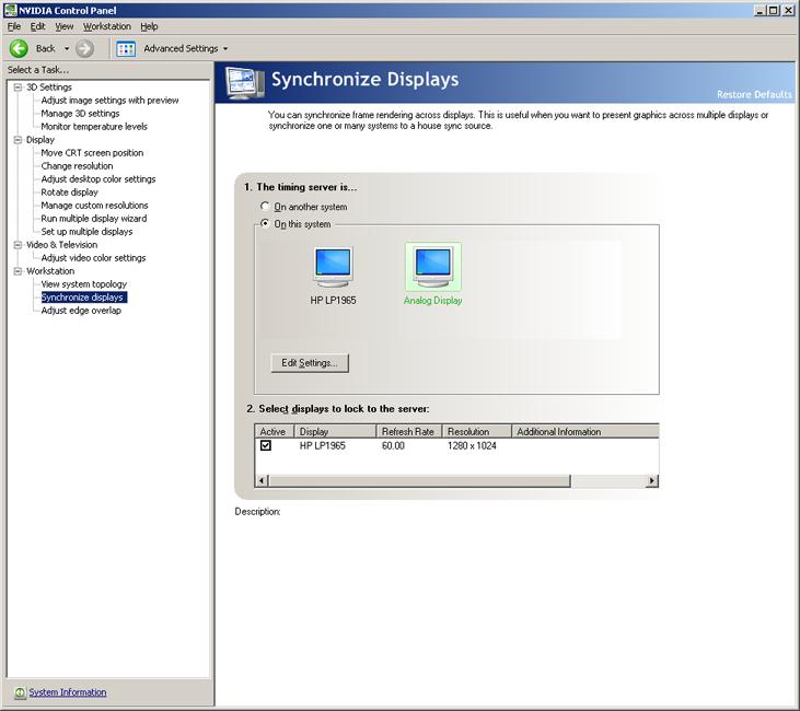 Configuring the GSync Card - Viz Video Wall ER Administrator's Guide